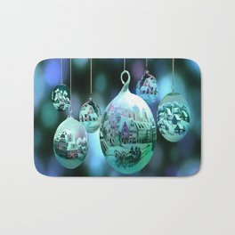 Christmas Bulbs in Blue Bath Mat