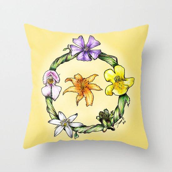 Garland of flowers Throw Pillow