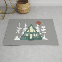 A Frame with Pine Trees Rug