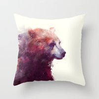 purple Throw Pillows featuring Bear // Calm by Amy Hamilton