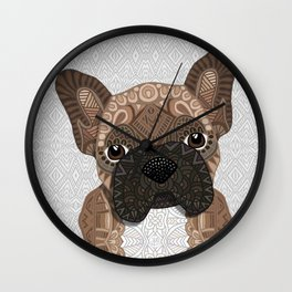 Brown Frenchie Puppy 001 Wall Clock