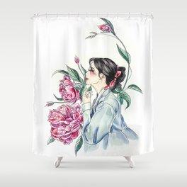 Peonies (Hanbok girls) Watercolor Shower Curtain