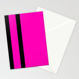 Hot Pink with Black Stripes Stationery Cards