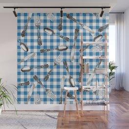 Utensils on Blue Picnic Blanket Wall Mural