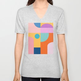 Playful Color Block Shapes in Bright Shades of Orange, Blue, Yellow, and Pink Unisex V-Neck