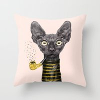 black cat Throw Pillows featuring Black Cat by dogooder