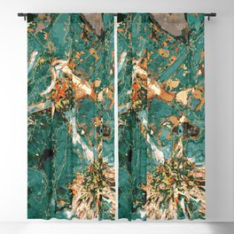 Macelas - Small flowers digitally stylized green marble Blackout Curtain