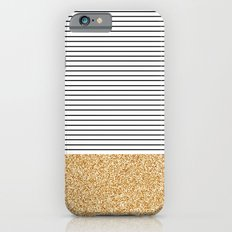 Minimal Gold Glitter Stripes Slim Case iPhone 6