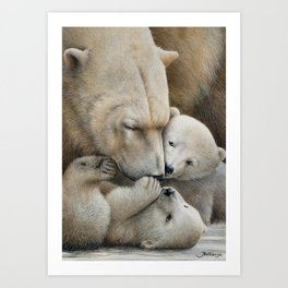 """Nanuk family"" Polar bear by Claude Thivierge Art Print"