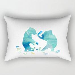 Playing bear kids- Watercolor animal illustration Rectangular Pillow