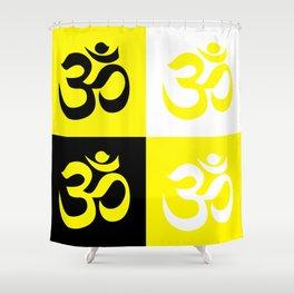 AUM / OM Reiki symbol yellow black white mix Shower Curtain