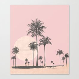 Tropical Sunset In Peach Coral Pastel Colors Canvas Print