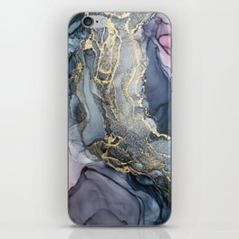 Blush, Payne's Gray and Gold Metallic Abstract iPhone Skin