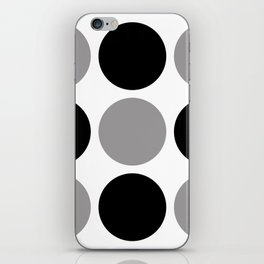 Mid Century Modern Polka Dot Pattern 9 Black and Gray iPhone Skin