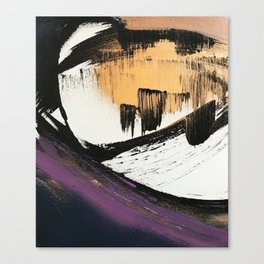 Axis [2]: a bold, minimal abstract in gold, purple, blue, black and white Canvas Print