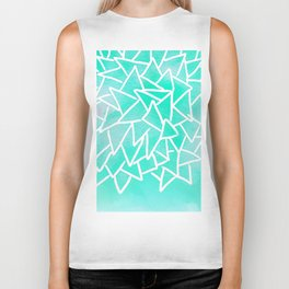 Blue turquoise watercolor geometric triangles Biker Tank