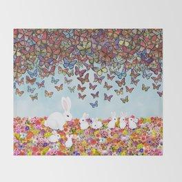 bunnies, flowers, and butterflies Throw Blanket