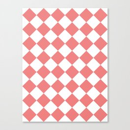 Large Diamonds - White and Coral Pink Canvas Print
