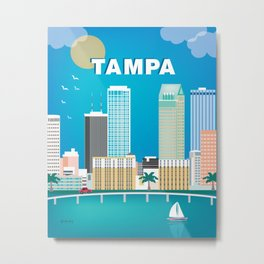 Tampa, Florida - Skyline Illustration by Loose Petals Metal Print