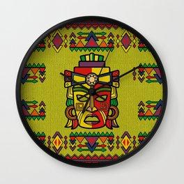 Colorful Aztec Inca Mayan Mask Wall Clock
