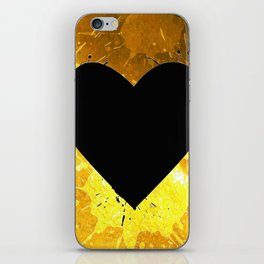 Yellow Watercolor splashed heart texture iPhone Skin
