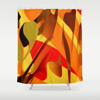 spice Shower Curtains featuring pumpkin spice by David Mark Lane