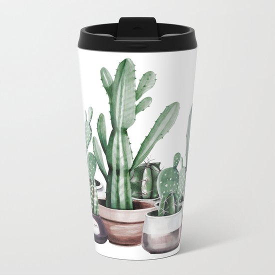 Cactus + Succulents Rose Gold Pattern by Nature Magick Metal Travel Mug