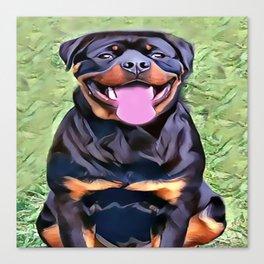 Happy Rottweiler Canvas Print