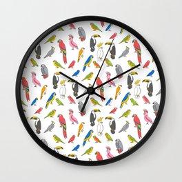 Tropical birds jungle animals parrots macaw toucan pattern Wall Clock