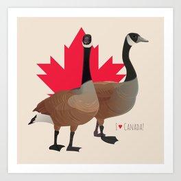 I Love Canada! (Two Canada Geese) Art Print