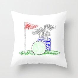 Scribble Golf Throw Pillow