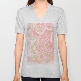 Modern pink coral marble gold glitter pattern Unisex V-Neck