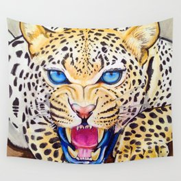 Snow Leapord's Prowl Wall Tapestry