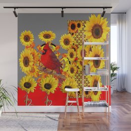 MODERN ABSTRACT RED CARDINAL YELLOW SUNFLOWERS GREY ART Wall Mural