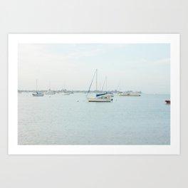 Sailboat Seascape - Modern Coastal Decor Art Print