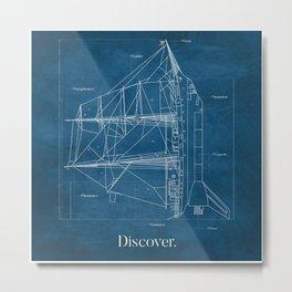 Ship Rocket Blueprint Metal Print
