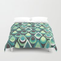 feathers Duvet Covers featuring Feathers by Kakel