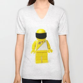 Yellow astronaut Minifig with his visor down Unisex V-Neck