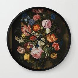 Ambrosius Bosschaerts the Elder - Bouquet of Flowers in a Stone Niche Wall Clock