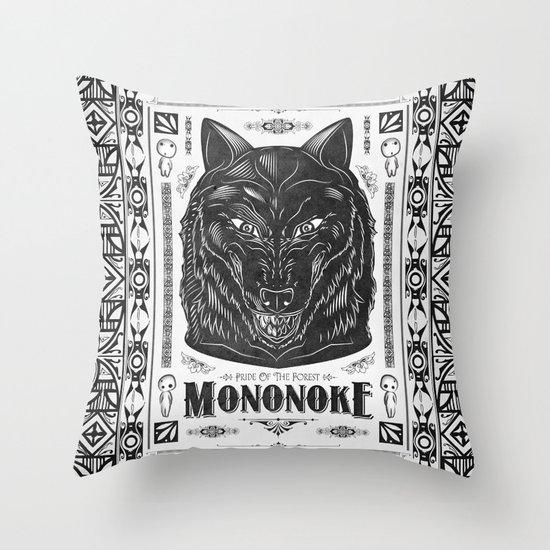 Mononoke Hime Wolf Pride Letterpress Line Work Throw Pillow