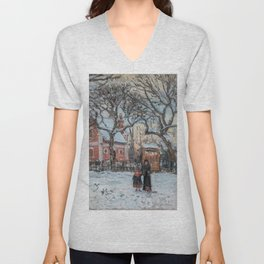 Camille Pissarro - Chestnut Trees, Louveciennes, Winter Unisex V-Neck