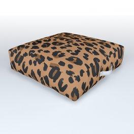Leopard - Black Brown on Tan Outdoor Floor Cushion