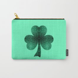 Emerald green shamrock clover sparkles Carry-All Pouch
