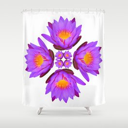 Purple Lily Flower - On White Shower Curtain