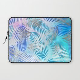 Watercolor and Silver Feathers on Watercolor Background Laptop Sleeve