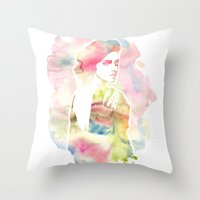 emma watson Throw Pillows featuring Emma Watson Watercolor by nicole lianne