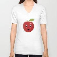 kawaii V-neck T-shirts featuring Kawaii Apple by Nir P