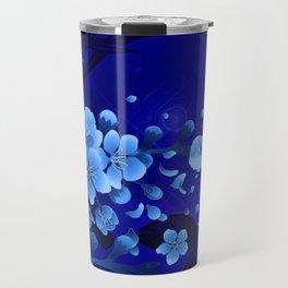 Cherry blossom, blue colors Travel Mug