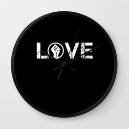 Black Lives Matter BLM Love Fist Shirt Wall Clock