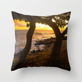 Two Trees In Tropical Paradise Sunset Throw Pillow